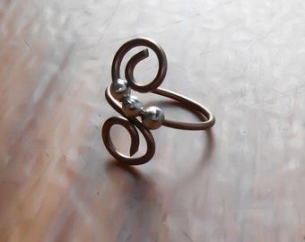 Copper Toe Rings - Adjustable toe ring - Copper Toe ring - Wrapped ring - Beaded toe ring - Spiral toe ring - Midi ring - Unique toe ring