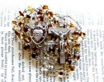 Sacred Heart Rosary - Catholic Rosary, Brown Mock Tortoiseshell Czech Glass Beads