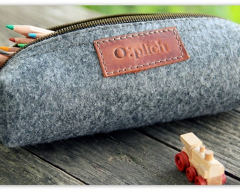 Felt  Pencil Case Zipper  /Grey Pen Holder / Small Cosmetic Bag/ Crayon Holder/ Cognac Leather and Grey Felt/ gift / Free Personalization