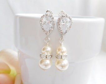 FREE United States Shipping Swarovski Pearl And Cubic Zirconia Teardrop Bridal Earrings Bridal Jewelry Bridesmaid Gift Pearl Bridal Earrings