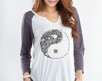 Yin Yang Shirt Long Sleeve Top Baseball Raglan T Shirt Jersey Shirt Tumblr Graphic Tees