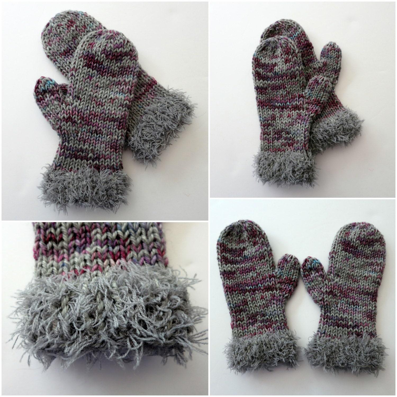 Knitting Patterns For Winter : Mitten Knitting Pattern Winter Fur Trimmed Mittens