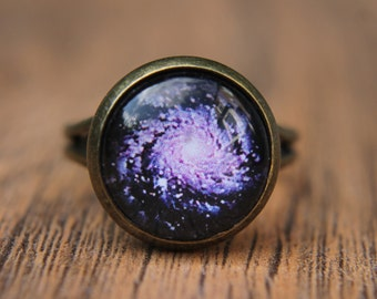 Purple Galaxy Ring, Space, Universe, Solar System, Nebula, Statement Ring, Adjustable Ring, Glass Dome Ring