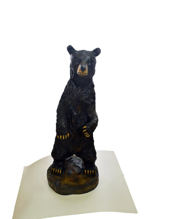 Bear chainsaw wood carving black by joshcarteart