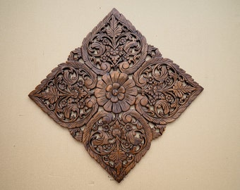 Lotus Carved Wood Wall Art Decor. Wall Sculpture. Wall Hanging. Teak Panelling from