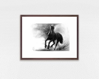 Framed Art Print, horse pencil drawing print, GICLEE PRINT, black horse drawing, galloping dark horse framed print, framed horse drawing
