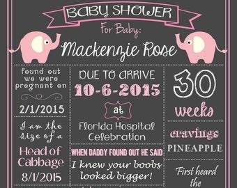 Pink Elephants Baby Shower Chalkboard Poster DIGITAL FILE