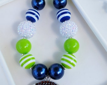 Child Size Seahawks inspired football necklace, Seahawks jewelry, Seahawks chunky jewelry