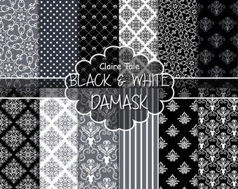 """Damask digital paper: """"BLACK & WHITE DAMASK"""" with black and white damask backgrounds and classical damask patterns for scrapbooking"""