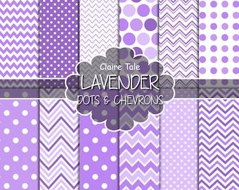 Lavender polka dots and chevrons, Lavender digital paper, Lavender scrapbooking paper, Lavender digital background, Lavender printable paper