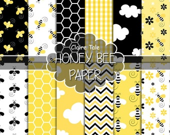 """Bee digital paper: """"HONEY BEE"""" paper pack with honey bee / bumble bee, honeycomb, clouds, flowers, chevrons and gingham in yellow and black"""