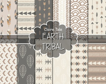 """Tribal digital paper: """"EARTH TRIBAL"""" with tribal patterns and tribal backgrounds, arrows, feathers, leaves, chevrons in brown earth colours"""