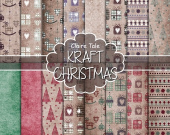 Christmas digital paper: KRAFT CHRISTMAS PAPER xmas backgrounds with deers, snowflakes, christmas trees and gifts  on kraft background