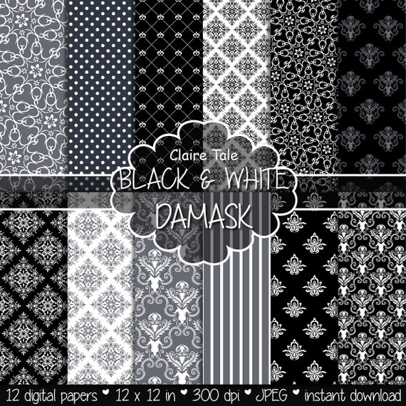 "Damask digital paper: ""BLACK & WHITE DAMASK"" with black and white damask backgrounds and classical damask patterns for scrapbooking"