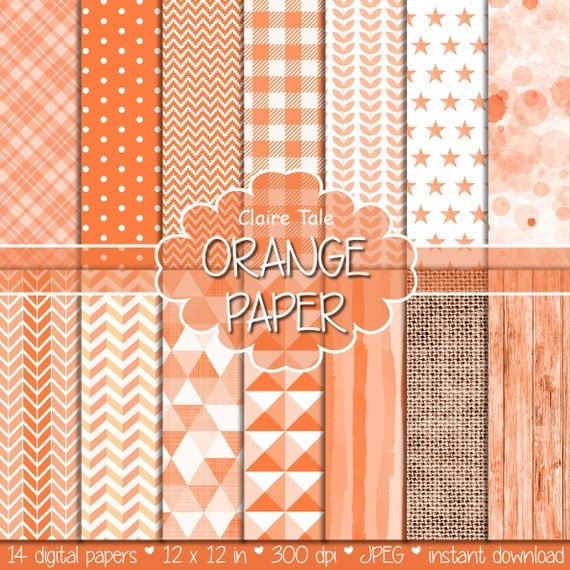 Orange digital paper, Orange digital pattern, Orange digital background, Orange printable invitation party paper, Orange scrapbooking paper