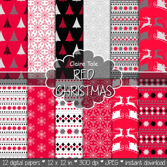 "Christmas digital paper: ""RED CHRISTMAS"" christmas backgrounds with deers, santa, snowflakes, christmas trees"