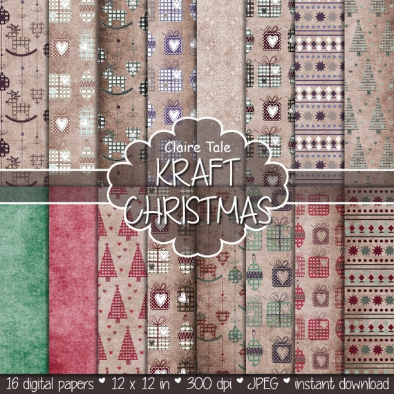 Christmas digital paper, Christmas paper, Christmas background, Xmas paper, Kraft Christmas, Rustic Christmas paper, Vintage Christmas paper