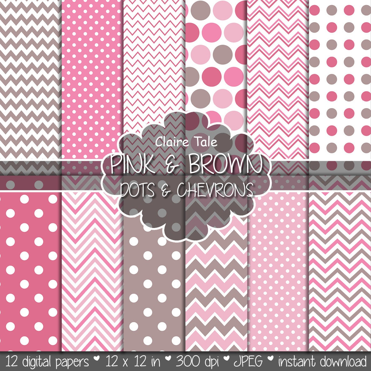Pink and brown polka dots and chevrons background Pink and