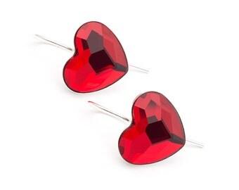 Big Red Heart Earrings Swarovski Earrings Sterling Silver Earrings Valentines Day Gift for her Red Heart Jewelry Simple Heart Earrings