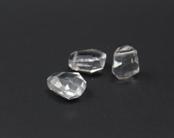 Faceted Rock Crystal Top Side Drilled 18x16mm 3pcs