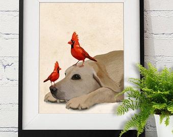 Labrador retriever and Red Birds - Yellow Labrador print yellow labrador illustration yellow labrador painting labrador wall art lab print