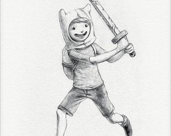 "Finn the Human - 8 x 10"" print (adventure time drawing, art, artwork, cartoon, decor, algebraic!)"