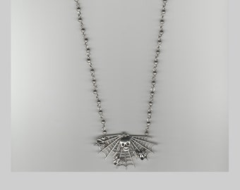 Spider Web and Skull with Silver Pearl Necklace
