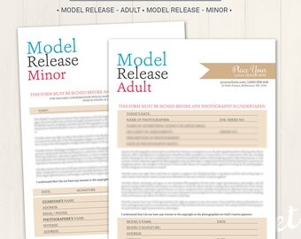 Photography Model Release Forms (Adult & Minor) - Photoshop Template for photographers (MR02) - INSTANT DOWNLOAD
