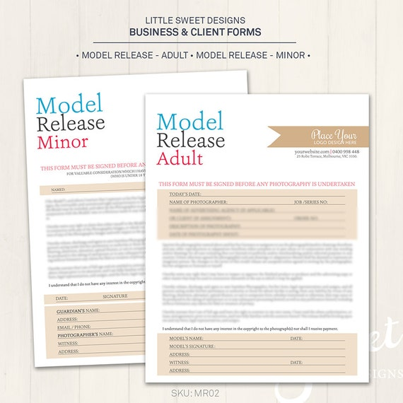 Superb Photography Model Release Forms (Adult U0026 Minor)   Photoshop Template For  Photographers (MR02)   INSTANT DOWNLOAD