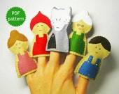 Little Red Riding Hood felt finger puppets PDF pattern wolf animal sewing tutorial - set of 5 Handmade cute soft toys DIY - Instant Dawnload