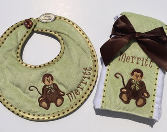ON SALE!!! Cuddly Soft Giggles Bib and Burp Cloth Set