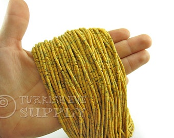 Afghan Beads 2mm Yellow Matrix Heishi Bead Strands Howlite Seed Beads One 1 Full Strand Semiprecious Gemstone Beads, Loose Beads