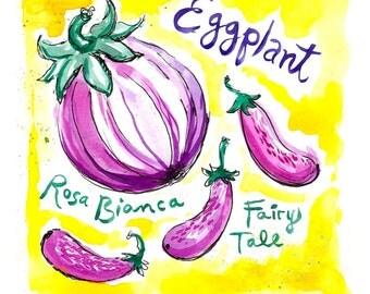 Eggplant Art Print, 8 x 10, Illustration, Watercolor, Vegetables, Kitchen Art, Hand Lettering