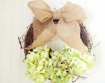 Wreath with green hydrangeas and burlap bow.summer wreath,shabby chic wreath,front door wreath.