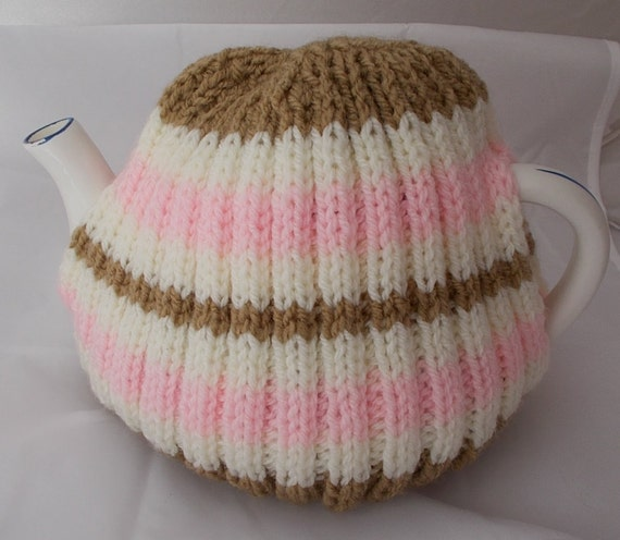 Hand Knitted Tea Cosy Patterns : Stripey Tea Cosy Hand Knit Cozy knitted Tea by AlsCraftyCorner