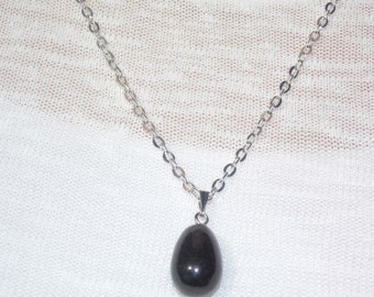 Black Onyx Drop Necklace - Silver Chain