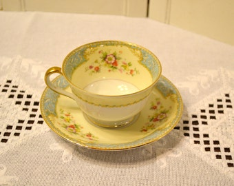 Vintage Noritake BlueDawn 622 Cup and Saucer White Blue Cream Floral Japan Morimura Bridal Baby Shower PanchosPorch