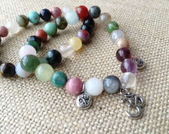 Gemstone Stacking Bracelets - Gemstone Stretch Bracelet Set - Natural Crystal Bracelet - Gemstone Friendship Bracelets