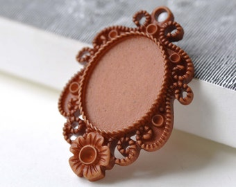 10 pcs Resin Cabochon Brown Flower Cameo Base Settings Pendant Tray Blanks Match 18x25mm Cabs  A4094