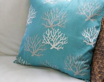 Aqua Coral Pillow Cover - 16X16, 18X18, 20X20