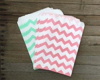 48 Mint and Pink--Favor Bag--Chevron Favor Sack--Mint Candy Favor Bag--Chevron Goodie Bag-- Party Sack--Birthday Treat Sacks