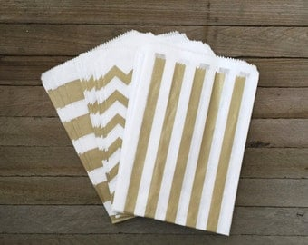 48 Gold Combo Favor Bag--Stripe Favor Sack--Gold Candy Favor Bag--Chevron Goodie Bag--Gold Party Sack--Birthday Treat Sacks