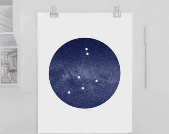 8x10 Capricorn Constellation Printable Art Print • Instant Digital Download