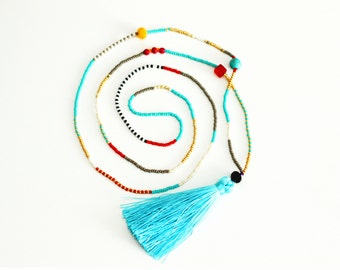 Tassel Necklace | Gray and Turquoise Beaded Necklace | Long Necklace | Tassel Jewelry | Boho Necklace | Seed Bead Necklace | Mala Necklace