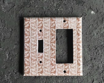 Light Switchplate cover - Decorative Brown, 2 gang switch plate, Combination wall plate, 1 toggle, 1 decora, Kitchen decor