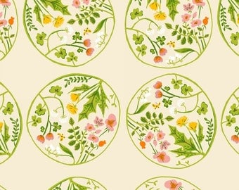 Heather Ross Fabric, Wildflower - Botanical Floral Plate from Tiger Lily for Windham Fabrics - 40928 5 Cream - Priced by the Half Yard