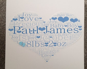 Gorgeous large personalised new baby boy keepsake memory box