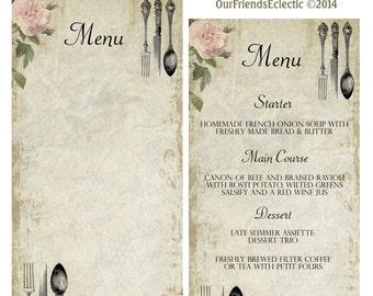 printable menu, blank menu, shabby pink rose, vintage cutlery, digital downloand, instant download menu, digital menu template