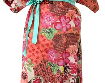 Coral Flower Blooms Maternity gown - Maternity Hospital Gown - Snaps Breastfeeding - Skin to Skin - Snaps down back gown delivery