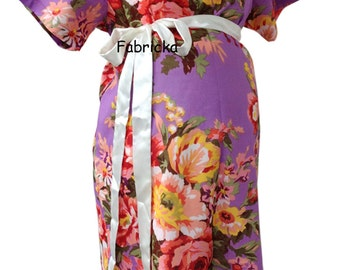 Snaps Breastfeeding, Maternity Hospital Gown, Violet Flower Blooms Maternity gown - Skin to Skin - Snaps down back gown delivery